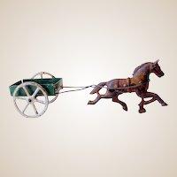 Vintage Toy Cast Iron Horse Pulling Tin Cart