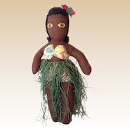 1930s-40s Hand Made Hawaiian Hula Girl Cloth Doll