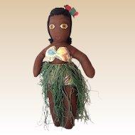 1930s-40s Hand Made Hawaiian Hula Girl Cloth Doll