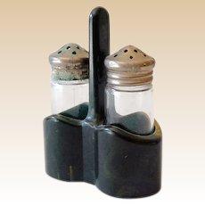 Salt & Pepper Shakers In Green Marbled Bakelite Holder