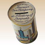 1934 Chicago World's Fair Tin Advertising Bank