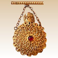 Victorian Jeweled Perfume Brooch Made in France