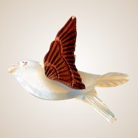 Thick Carved Lucite and Wood Bird In Flight Brooch