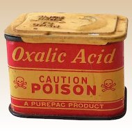 1930s Purepac Oxalic Acid Caution Poison Tin