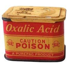 1930s Purepac Oxalic Acid Caution Poison Tin