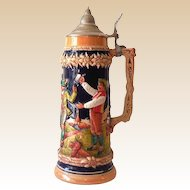 Tall Vintage Gerz Lidded Beer Stein Made in Germany