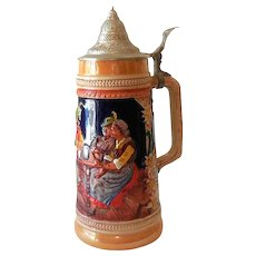 Vintage Signed Gerz Lidded Beer Stein Made in Germany