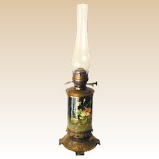 LARGE Victorian Duplex Hand Painted & Brass Oil Lamp