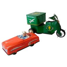 (2) Vintage Tin Litho Toys Car & Delivery Vehicle
