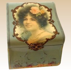 Antique Victorian Celluloid Dresser Box Repousse Trim