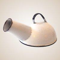 Vintage Porcelain Enamel Bedpan Urinal Planter