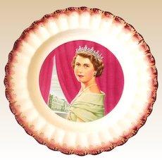 1950s American Limoges Plate Queen Elizabeth ll