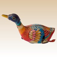 Vintage Tin Lithograph Wind Up Toy Duck Japan