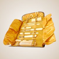 Vintage Manicure Set In Leather Pouch Celluloid Handles
