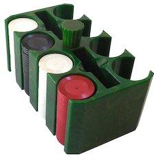 1930s Marbled Green Bakelite Poker Chip Holder