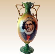 Very Old European Hand Painted Vase with Handles