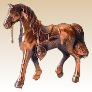 Small Vintage Copper Finished Metal Horse