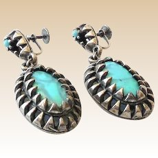 Vintage Earrings Silver With Dangling Turquoise Stones
