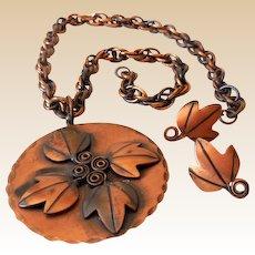 Signed Rebajes Mid Century Modernism Copper Set