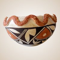 Vintage 1940s Signed Acoma American Indian Clay Pot