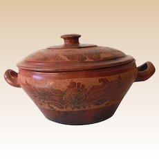 Vintage Redware Clay Lidded Pottery Bowl Hopi Indian