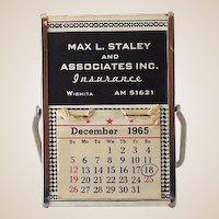 1960s Advertising Desk Easel Calendar & Mirror