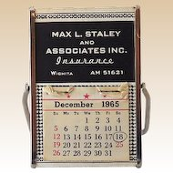 1960s Advertising Desk Easel Calendar & Mirror