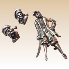 SCARCE Sterling Silver Pirate Jewelry Brooch & Earrings