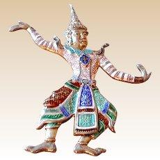 Sterling Silver & Enamel Siamese Dancer Pin Thailand