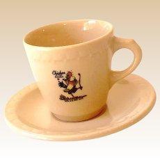 "Vintage ""Chicken in the Rough"" Demitasse Cup & Saucer"