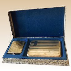Silver Plated Cigarette Case & Match Holder In Box