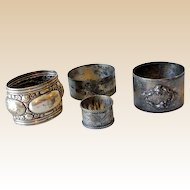 (4) Mismatched Silver Plated Victorian Napkin Rings