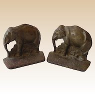 Old Cast Iron Elephant Bookends Signed ACW