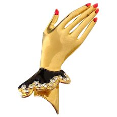 Vintage Brooch Hand With Jewels