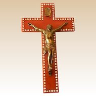 LARGE Bakelite & Rhinestones Crucifix With Christ Figure