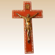 LARGE Bakelite & Rhinestones Crucifix With Christ Figure