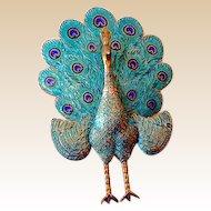 Vintage 1940s Sterling & Enamel Peacock Brooch Siam