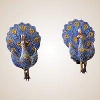 1940s Sterling & Enamel Peacock Earrings Siam