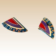Laurel Burch Enamel Cloisonne Clip Back Earrings