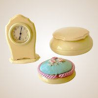 Vintage 3 Piece Dubarry Vanity Set Clock, Pin Cushion, Jar