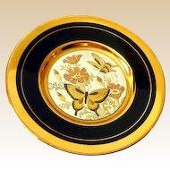 Small Vintage Art Of Chokin Decorative Plate Butterflies