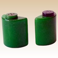 1930s Green Bakelite Salt and Pepper Shakers