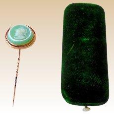 Intaglio Carved Cameo Stick Pin in Original Presentation Box
