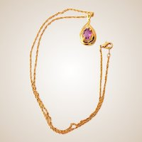 Pretty Pendant With Purple Stone on Goldtone Chain