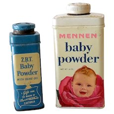 (2) Vintage Advertising Tins Baby Powder Great Graphics
