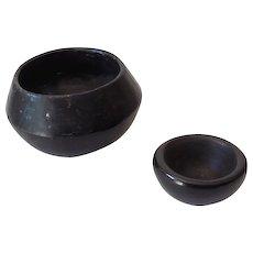 (2) Native American Made Black Pottery Bowls