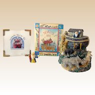 (4) Noah's Ark Items Includes Figurines, Book, Print