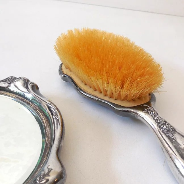 Early 1900s Brush Mirror Vanity Set Silver Plate With