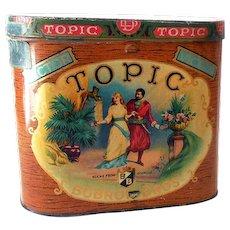 Large Vintage Topic Bobrow Bros Cigar Tin Great Litho Graphics