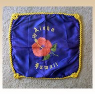 Vintage Souvenir Hawaiian Embroidered Pillow Cover